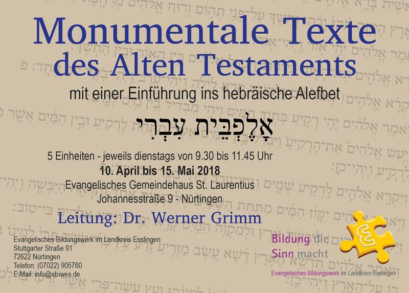 Hebräisch : Evangelisches Bildungswerk im Landkreis Esslingen